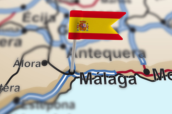 pin with flag of Spain in Malaga